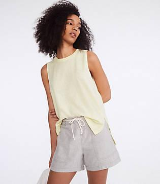 Lou & Grey Crosshatch Softstretch Linen Rope Tie Shorts