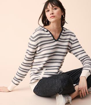 Lou & Grey Striped Sweater Hoodie