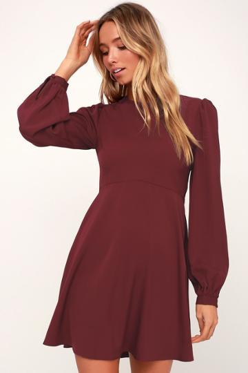 Follow Me Burgundy Long Sleeve Dress | Lulus