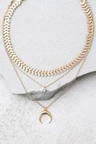 Lulus Child Of The Wild Gold Layered Choker Necklace Set