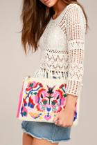 Lulus Call It Love Light Beige Embroidered Clutch