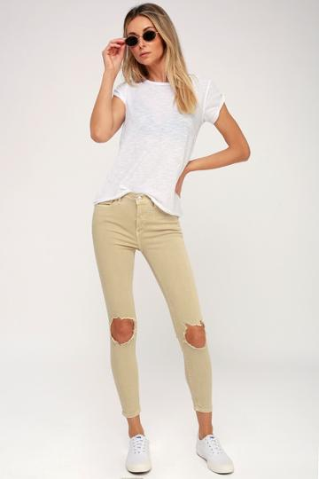 Free People High Rise Busted Khaki Distressed Skinny Jeans | Lulus