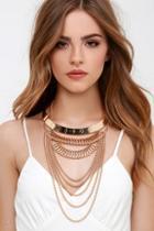 Lulu*s Regal Tendencies Gold Layered Collar Necklace