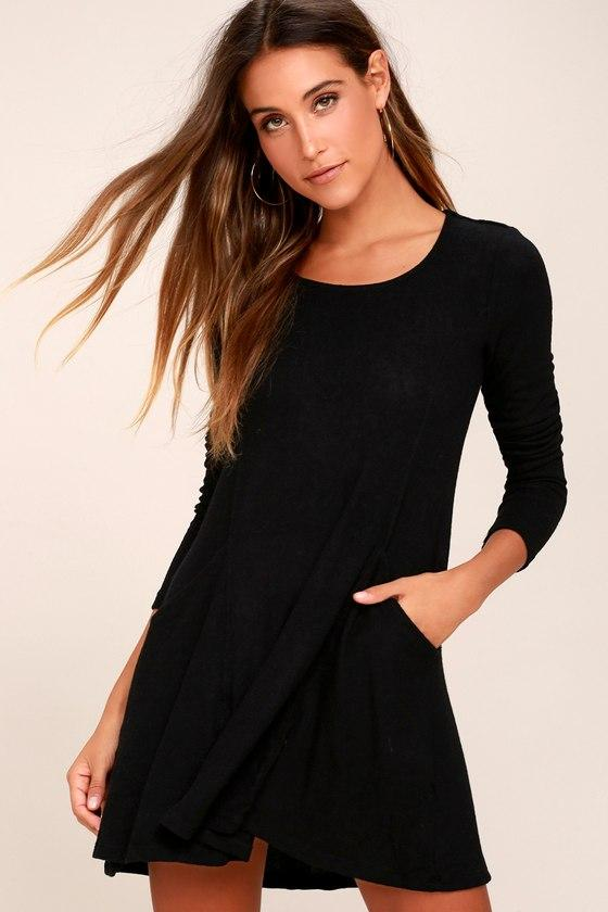 Z Supply | Pretty As A Picture Black Long Sleeve Swing Dress | Size Large | Lulus