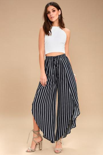 Napoleon Navy Blue And White Striped Wide-legs Pants | Lulus