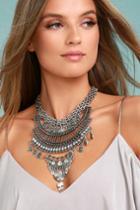 Lulus | Sure Allure Silver Rhinestone Statement Necklace