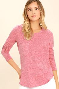 Z Supply Shiloh Heather Red Long Sleeve Top