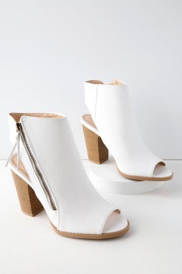 Qupid Bartlett White Peep-toe Ankle Booties | Lulus