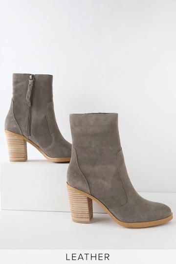 Splendid Roselyn Ii Charcoal Genuine Suede Leather Mid-calf Booties   Lulus