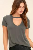 Lulus Once In A Wild Washed Olive Green Top