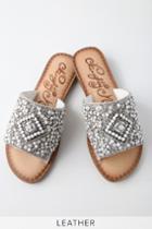 Naughty Monkey Susanna White Leather Rhinestone Slide Sandal Heels | Lulus