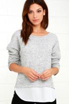 Lulus | Keep Me Company Grey Sweater Top | Size X-small | 100% Polyester