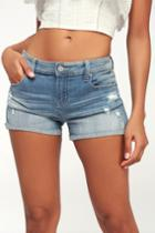 Eunina Lexi Light Wash Distressed Denim Shorts | Lulus