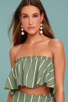 Faithfull The Brand Faithfull The Brand Suns Out Olive Green Striped Strapless Top | Size 8 | Lulus