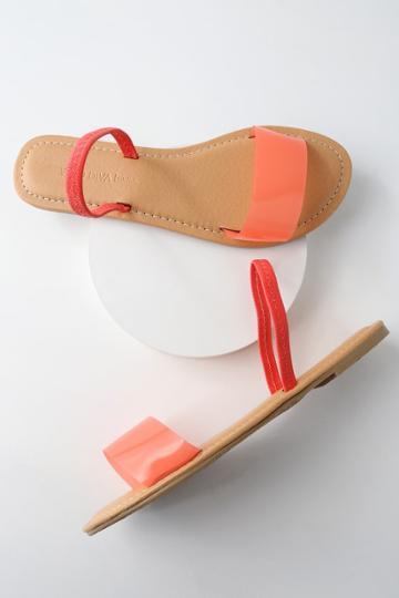 Wild Diva Lounge Griffith Neon Pink Flat Sandal Heels | Lulus