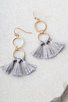 Lulus Quite The Pair Grey Tassel Earrings