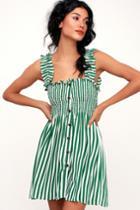 Faithfull The Brand Mika Green Striped Button-up Dress | Lulus