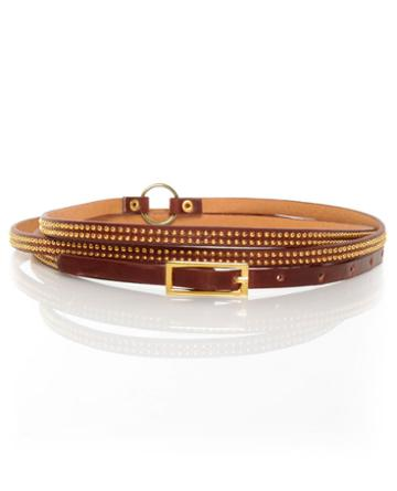 Premise Double Wrap Mahogany Brown Skinny Belt