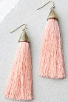 Lulus Frazzle Dazzle Pink Tassel Earrings