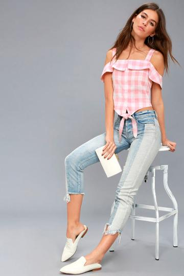 Bellini Babe White And Pink Gingham Crop Top | Lulus