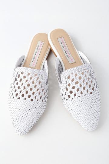 Kristin Cavallari Camille White Woven Leather Loafer Slides   Lulus