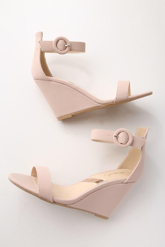 Qupid Reign Nude Nubuck Ankle Strap Wedges | Lulus