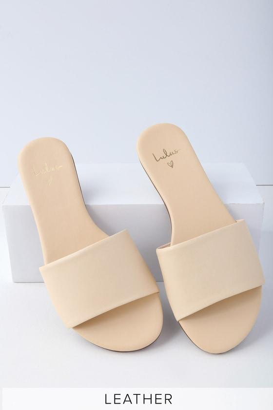 Tara Off White Nappa Leather Slide Sandal Heels | Lulus
