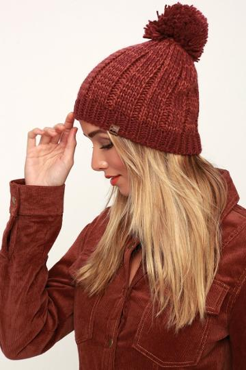 Billabong Chill Out Wine Red Pom Pom Beanie | Lulus