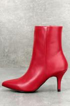 Qupid East Village Red Mid-calf Boots