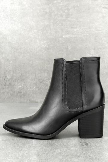 Soda Tatum Black Ankle Booties | Lulus