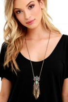 Lulu*s Chasing The Clouds Gold Rhinestone Pendant Necklace