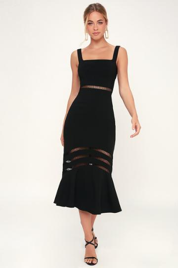 Finders Keepers Sangria Black Midi Dress | Lulus