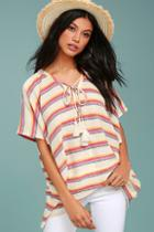 Lulus At Sunset Cream Striped Poncho Top