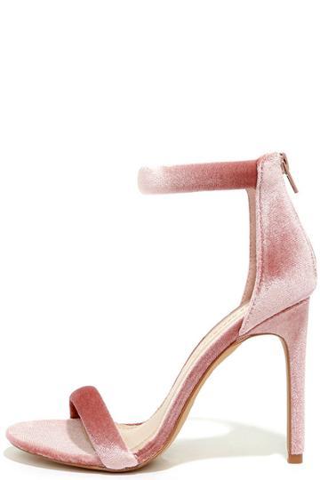 Shoe Republic La Everyday Celebration Mauve Velvet Ankle Strap Heels | Lulus