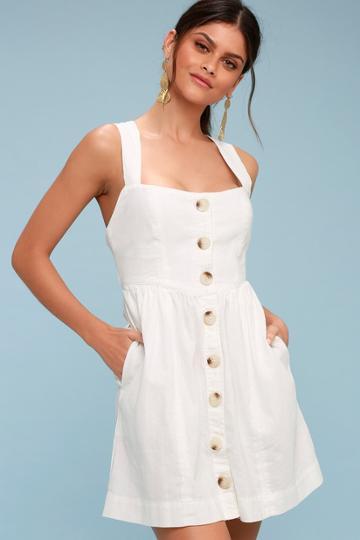 Free People Carolina White Button-up Mini Dress | Lulus