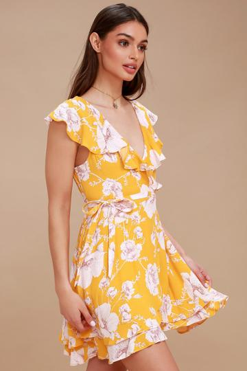 Free People French Quarter Yellow Floral Print Wrap Dress | Lulus