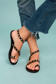 Bonnibel Alexi Black Studded Star Sandals