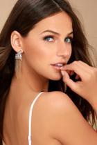 Lulus Cascada Gold Rhinestone Earrings