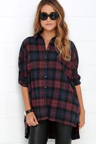 Primi Across The Corral Burgundy Plaid Button-up Top