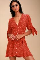 Faithfull The Brand Birgit Coral Red Floral Print Tie-sleeve Dress | Lulus