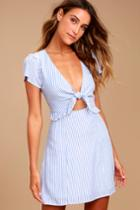 Seaport Light Blue And White Striped Tie-front Dress | Lulus