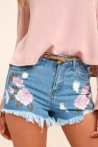 On Twelfth Posy Parade Light Wash Embroidered Distressed Denim Shorts