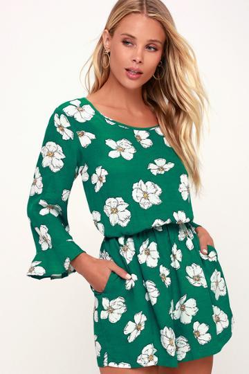 Minkpink Greenhouse Green Floral Print Flounce Sleeve Romper | Lulus