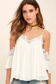 Lulus Daily Devotion White Lace Off-the-shoulder Top