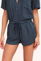 Rvca Vary Yume Navy Blue And White Striped Shorts | Lulus