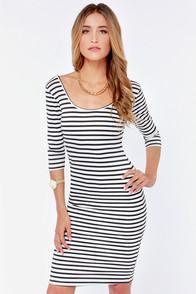 Red Clover Stripe A Pose Black And White Striped Bodycon Dress