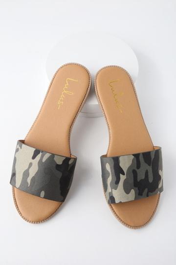 Dawn Camo Print Slide Sandal Heels | Lulus