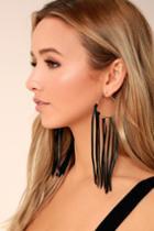 Lulus | Favorite Flair Silver And Black Tassel Earrings | Vegan Friendly