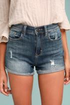 Sneak Peek Sing Along Medium Wash Distressed Denim Shorts | Lulus