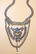 Lulus Boho Bounty Silver Rhinestone Layered Statement Necklace